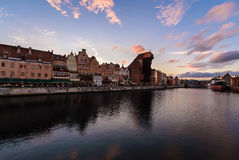 Panorame of Gdansk cityscape in sunset time in Poland Royalty Free Stock Photo
