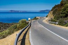 Panorami road in souyh sardinia. Panoramic road in south sardinia near malfatano Royalty Free Stock Photo