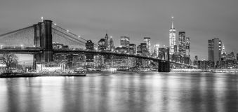 Panoramia av den Brooklyn bron och Manhattan, New York City royaltyfria bilder