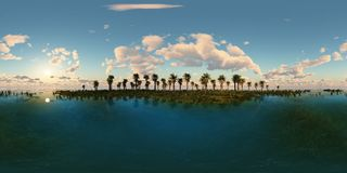 Panoramia of tropical beach. made with one 360 degree lense. Ready for virtual reality. 3D illustration Stock Photo