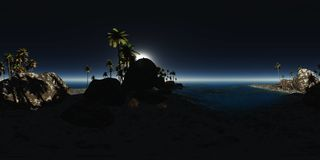 Panoramia of tropical beach at night Stock Photography