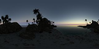 Panoramia of tropical beach at sunset Royalty Free Stock Images