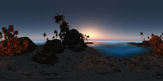 Panoramia of tropical beach at sunset. made with one 360 degree Stock Photo