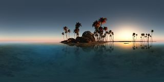 Panoramia of tropical island with palms in ocean Royalty Free Stock Photography