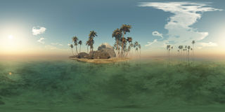 Panoramia of tropical island with palms in ocean Stock Photo
