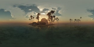 Panoramia of tropical island with palms in ocean Royalty Free Stock Photos