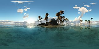 Panoramia of tropical island with palms in ocean Stock Images