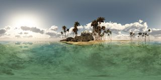 Panoramia of tropical island with palms in ocean. made with one. 360 degree lense. ready for virtual reality. 3D illustration Stock Images