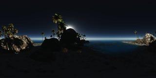 Panoramia tropikalna plaża przy nocą Fotografia Stock
