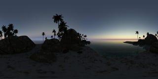 Panoramia tropikalna plaża przy zmierzchem Obrazy Royalty Free