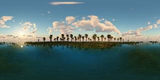 Panoramia tropikalna plaża robić z jeden 360 stopni lense Zdjęcie Stock