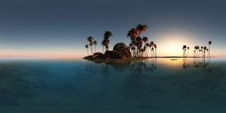 Panoramia tropikalna wyspa z palmami w oceanie Fotografia Royalty Free