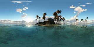 Panoramia tropikalna wyspa z palmami w oceanie Obrazy Stock