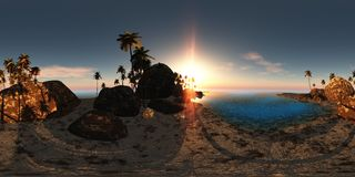 Panoramia van tropisch strand bij zonsondergang gemaakt met één 360 graad stock illustratie