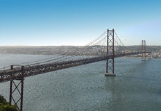 Panoramic from 25 de abril bridge. Royalty Free Stock Photo