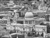 Panoramic aeral view of St Paul Cathedral ancient landmark, Lond Royalty Free Stock Images