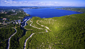 Panoramic Aerial Above Lake Travis Water Tower Over Paradise Blue Lake royalty free stock photos