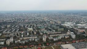 Ploiesti City , Romania, north side  aerial. Panoramic aerial footage from high above of the west side of Ploiesti City , Romania with the main residential area stock video footage