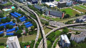 Panoramic aerial footage of a huge network of flyovers, junctions, intersections, roads, bridges etc in Zhengzhou, urban stock video