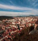 Panoramic aerial landscape of Ljubljana. Cityscape in winter beautiful day