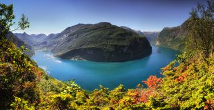 Panoramic Aerial Landscape Of Geiranger Fjord In Norway From Mountain Viewpoint. High Resolution Panorama Royalty Free Stock Photo
