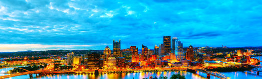 Panoramic aerial overview of Pittsburgh Stock Images