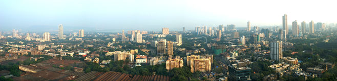 Panoramic aerial shot of Central Mumbai's much sought after Parel-Dadar area skyline Royalty Free Stock Photo