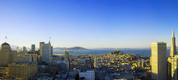 Panoramic aerial sunrise view  San Francisco Stock Photo
