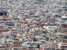 Panoramic aerial urban landscape of barcelona showing residential and business districts with hundreds of buildings visible. Stretching into the distance royalty free stock image