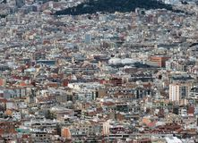 Panoramic aerial urban landscape of barcelona showing residential and business districts with hundreds of buildings visible. Panoramic aerial urban landscape of royalty free stock images