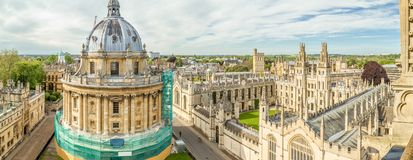 All Souls College, Oxford University. Panoramic aerial view of All Souls College, Oxford University, Oxford in a beautiful summer day, England, United Kingdom Stock Photography