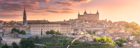 Panoramic aerial view of ancient city of Toledo. Panoramic aerial view of ancient city and Alcazar castle of Toledo Castilla la Mancha, Spain Stock Image