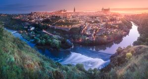 Panoramic aerial view of ancient city of Toledo royalty free stock photo