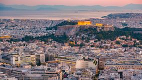 Timelapse of aerial view on Athens, Greece at sunset stock video