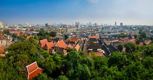 Panoramic aerial view of Bangkok from Golden mount temple Royalty Free Stock Photos