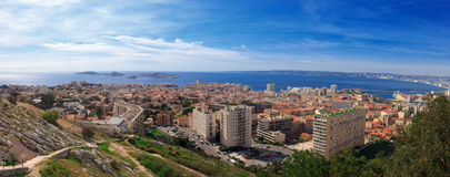 Panoramic aerial view on bay Marseille from mountain Stock Photography