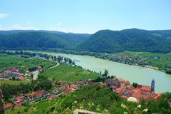 Panoramic aerial view of beautiful Wachau Valley with the historic town of Durnstein and famous Danube river, Lower Austria region stock photo
