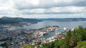Panoramic aerial view of Bergen stock video footage