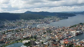 Panoramic aerial view of Bergen stock footage