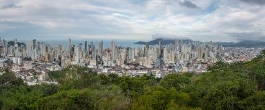 Panoramic aerial view of buildings in Balneario Camboriu city - Balneario Camboriu, Santa Catarina, Brazil Stock Image