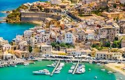 Panoramic view of Castellammare del Golfo harbor, Trapani, Sicily. royalty free stock photo