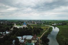 Panoramic aerial view of Cathedal in Kremlin in Suzdal, Russia at sunrise Stock Images