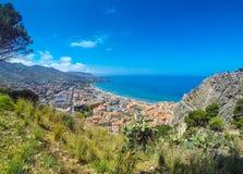 Panoramic aerial view of Cefalu city, Sicily, Italy stock photo