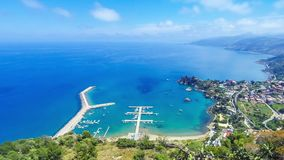 Panoramic aerial view of Cefalu city, Sicily, Italy. Panoramic aerial view of Cefalu sea port and Tyrrhenian Sea coast, Sicily, Italy. Cefalu city is one of the stock footage