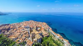 Panoramic aerial view of Cefalu old town, Sicily, Italy stock video footage