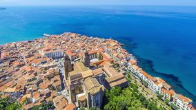 Panoramic aerial view of Cefalu old town, Sicily, Italy. Cefalu is one of the major tourist attractions in the region. Picturesque view from Rocca di Cefalu stock video footage