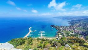 Panoramic aerial view of Cefalu city, Sicily, Italy. Panoramic aerial view of Cefalu sea port and Tyrrhenian Sea coast, Sicily, Italy. Cefalu city is one of the stock video