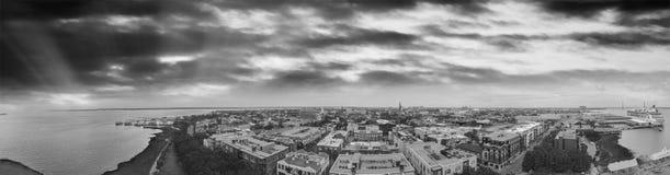 Panoramic aerial view of Charleston coastline at dusk, SC - USA.  stock photography