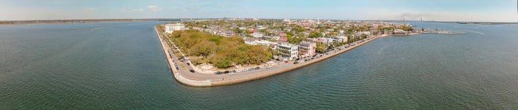 Panoramic aerial view of Charleston skyline, South carolina.  Royalty Free Stock Photo