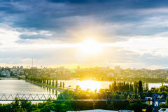 Panoramic aerial view of Chernavsky Bridge from roof top at sunset, Voronezh Stock Photo
